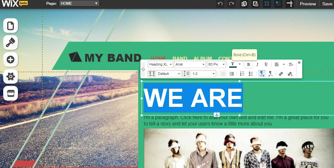 how to change site design on wix