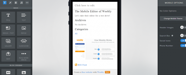 Weebly - Mobile Editor