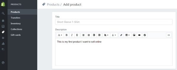 Shopify - Add Product