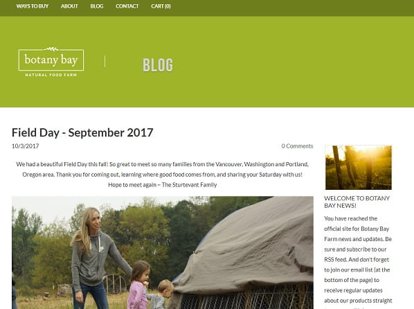 Botany Bay Farm - Weebly Blog Example