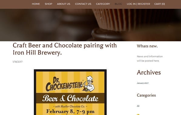 Muellers Chocolate Co - Weebly Blog Example