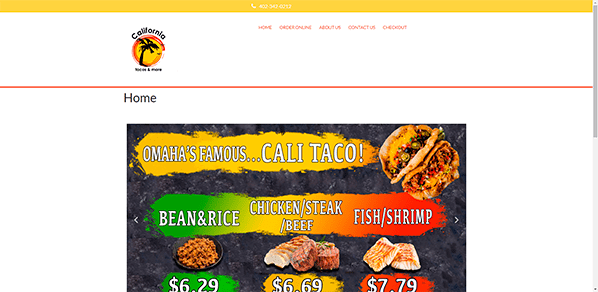 California Tacos and More  - Yola Restaurant Website