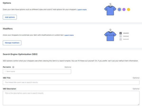 Add product options and fill in the item SEO fields.
